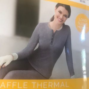 Cuddl Duds waffle thermal long sleeve Henley small